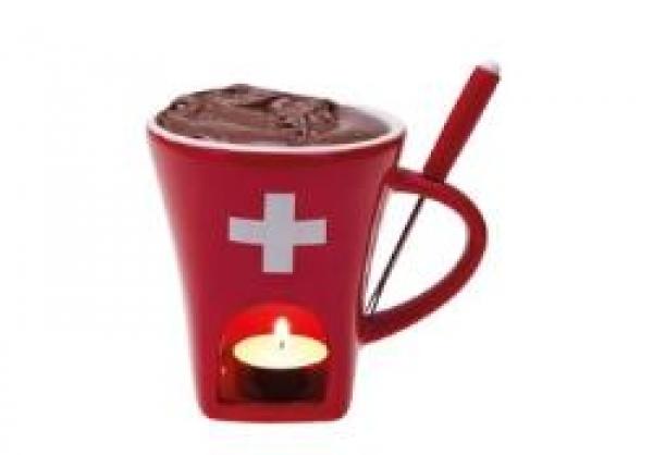 Schokoladenfondue-Set CH Kreuz, 3-teilig, Tasse rot, 1 Foduegabel