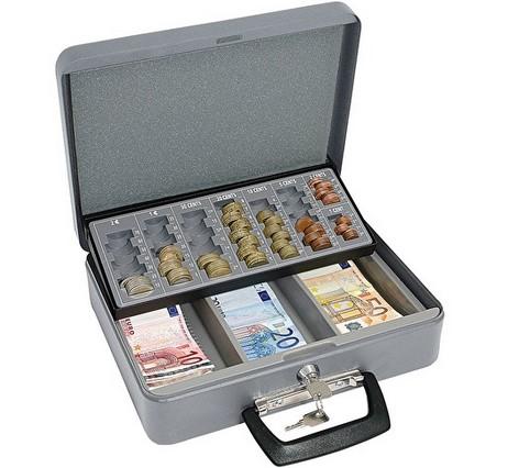 Geldzählkassette Standard, grau, aus Stahlblech