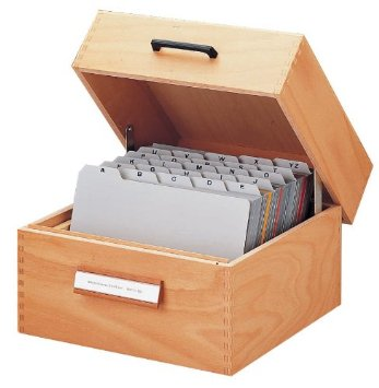 Holz-Karteikasten A7 quer, für 500 - 900 Karten