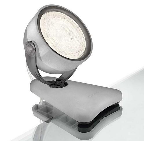 MyLiving LED-Klemmspot Dyna grau 53231/99/16, Kabel mit Schweizerstecker und Schalter,