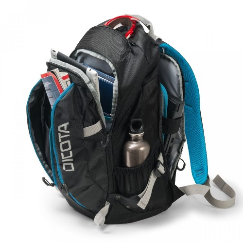 DICOTA Backpack Active 14-15.6 inch, black/blue, polyester, device max. 385 x 265 x 40 mm