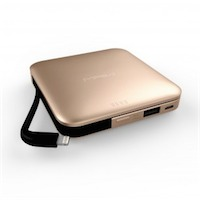 MIPOW SALT - Power Cube 9000 - Gold - Lightning - 9000mAh - Superb charging cube with vast capacity (9000mA) - Micro USB connector & male USB input cable incl. - Extra USB output - Output 2.1 A - Very thin - LED indicators