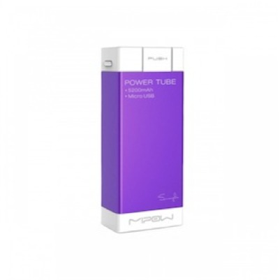 MIPOW SALT - SP5200 - Purple - Apple, mini USB, micro USB - 5200 mAh / 3.7V - Charge different Mobile device - Recharging status indicator - Battery level indicator by shaking - USB cable included to recharge the PowerTube 5200 - lithium-ion battery